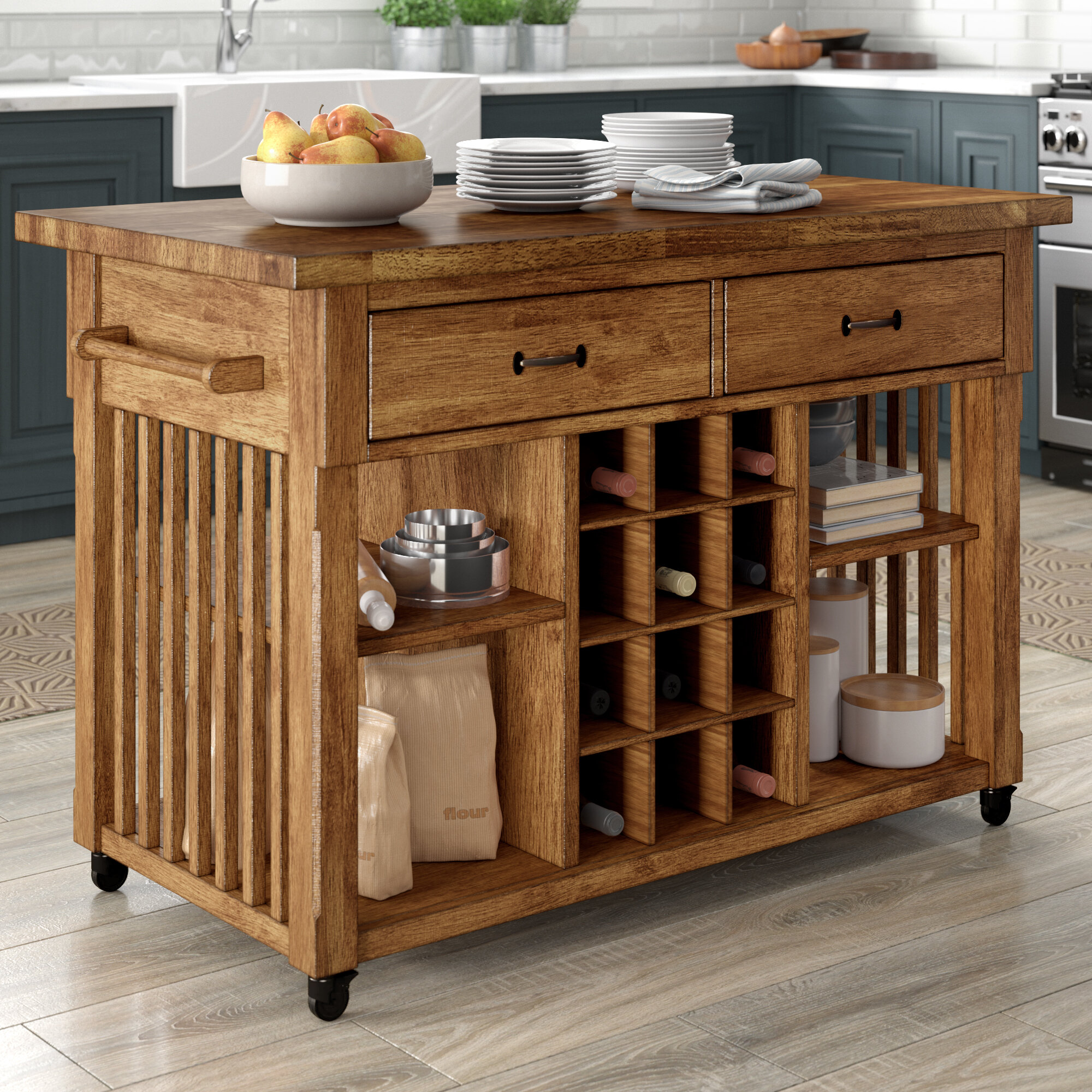 Fortville Kitchen Cart with Wood Top