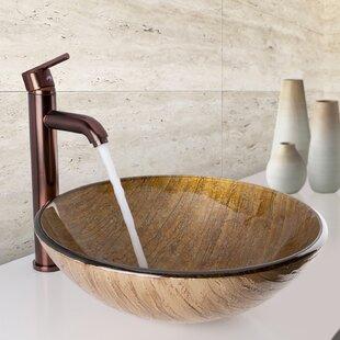 Save. VIGO. Glass Circular Vessel Bathroom Sink