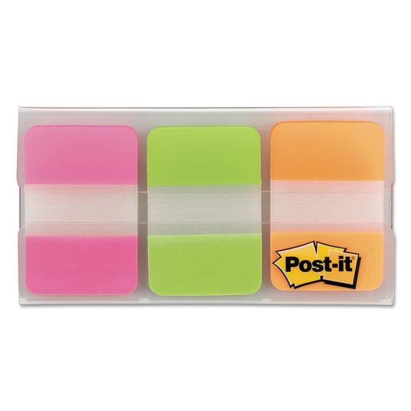 Index File Tabs, Fluorescent Green/Orange/Pink, 22 per Color, 66 per Pk by 3M
