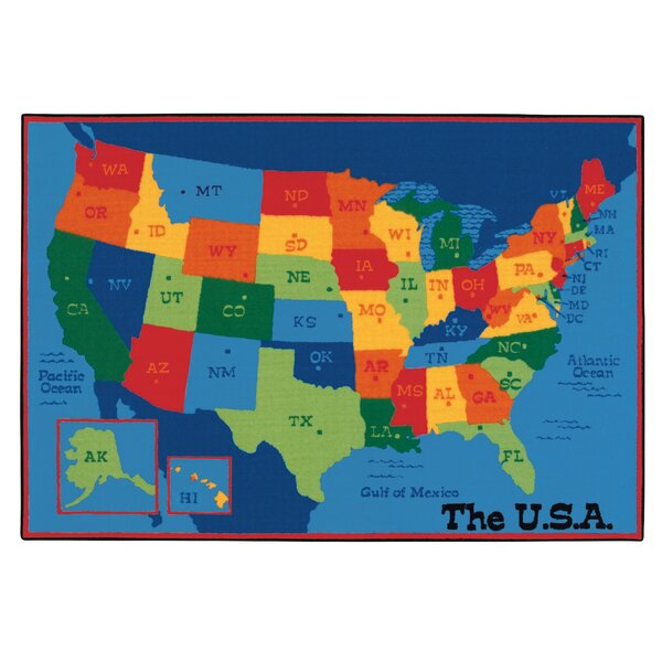 Value Plus USA Map Tufted Area Rug by Carpets for Kids