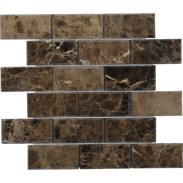 Chamfered 2 x 4 Beveled Marble Mosaic Tile in Rich Dark Emperador by Splashback Tile