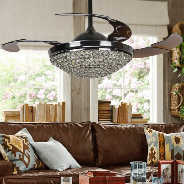 42 Joachim Crystal 4 Blade LED Ceiling Fan with Remote by House of Hampton