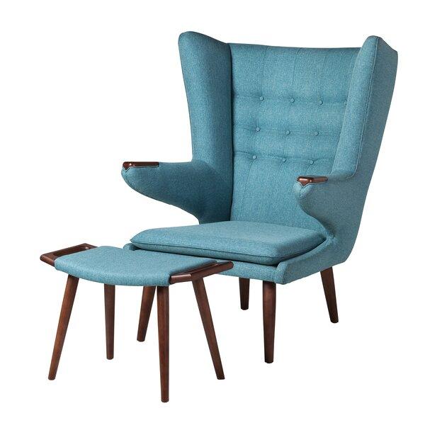 Cabello Wingback Chair and Ottoman by Corrigan Studio