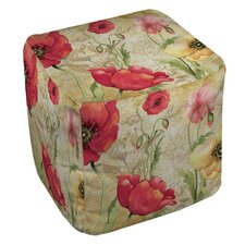 Large Poppy Heads Ottoman by Manual Woodworkers & Weavers
