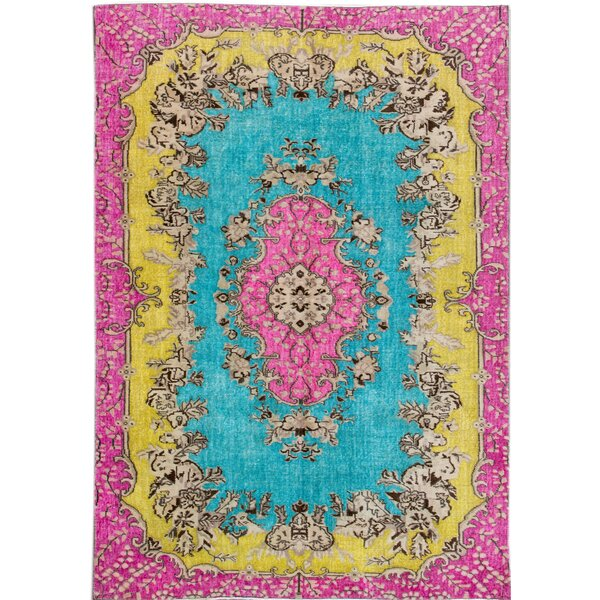 Revival Hand-Knotted Pink/Blue/Yellow Area Rug by Apadana Fine Rugs