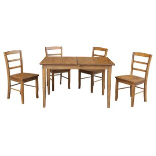 Kellar Butterfly Leaf Extension 5 Piece Solid Wood Dining Set By Alcott Hill