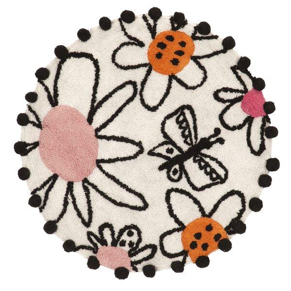 Nelson Circle 100% Cotton Non-Slip Floral Bath Rug