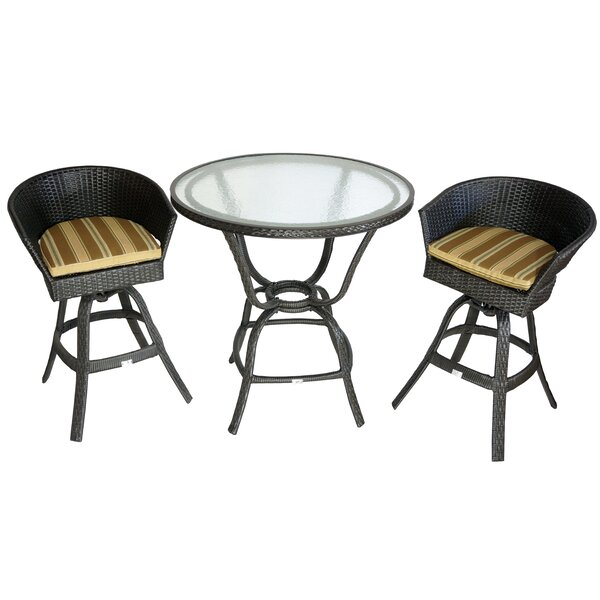 Darrius 3 Piece Bistro Set with Cushions