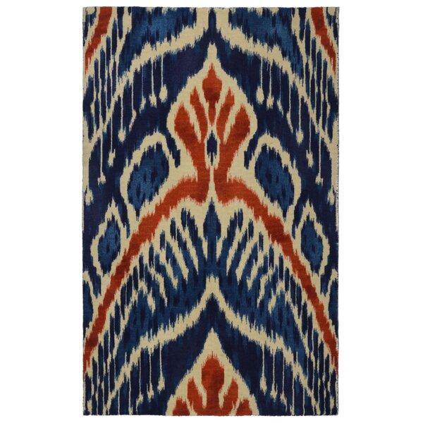 Freetown Crown Ikat Modern Bohemian Blue/Beige Area Rug by Bungalow Rose