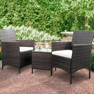 Jagger 3 Piece Rattan 2 Person Seating Group With Cushions