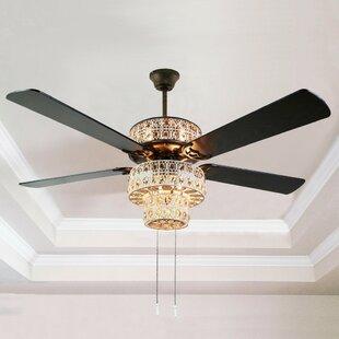 Ceiling fan with crystal light wayfair aloadofball Choice Image