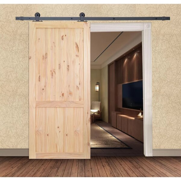 The Calhome Unfinished Solid Wood Panelled Knotty Pine Slab Interior Barn Door by Calhome