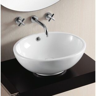 Ceramica II Ceramic Oval Vessel Bathroom Sink with Overflow Caracalla