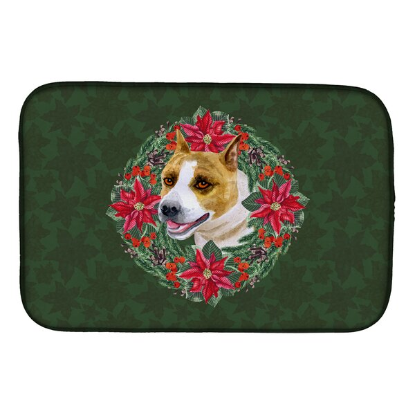 American Staffordshire Poinsetta Wreath Dish Drying Mat by Caroline's Treasures