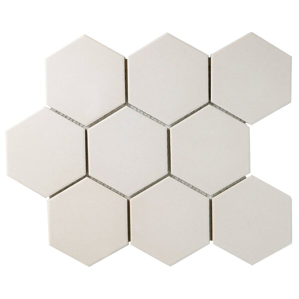 New York Super Hex 3.73 x 3.73 Porcelain Mosaic Tile in Antique White by EliteTile