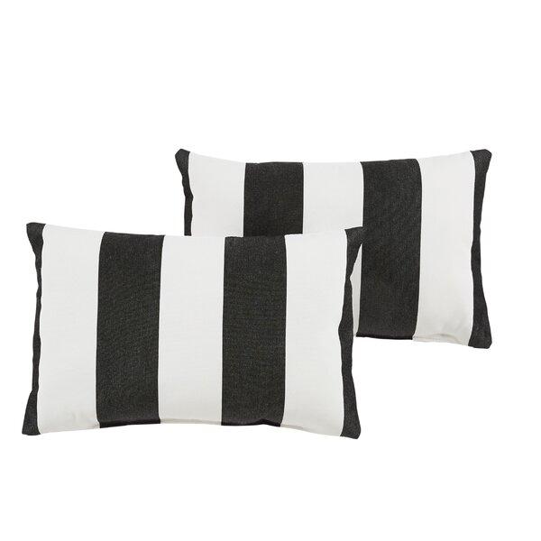 Arusha Sunbrella Knife Edge Cabana Classic Outdoor Lumbar Pillow (Set of 2) by Rosecliff Heights