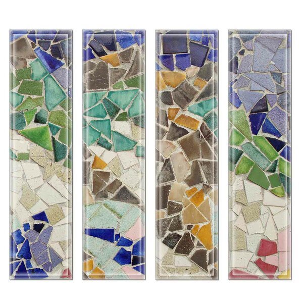 Crystal 3 x 12 Beveled Glass Subway Tile in Blue/Green by Upscale Designs by EMA