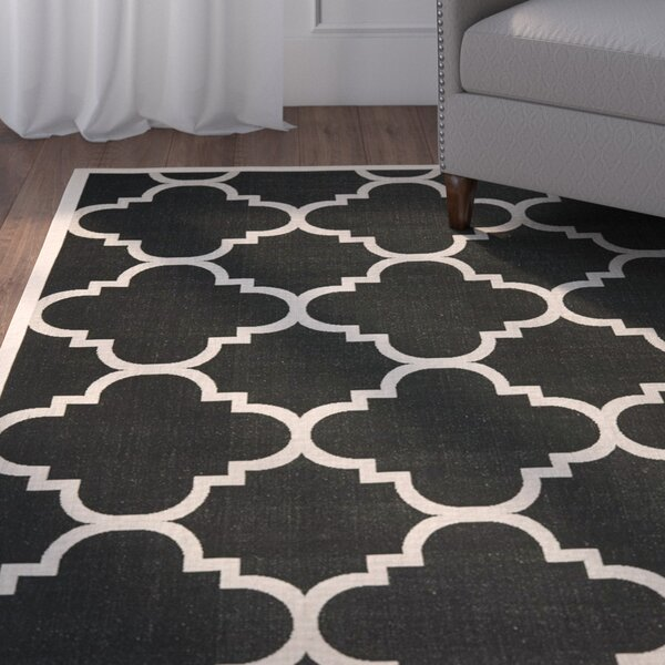 Short Black/Beige Indoor/Outdoor Area Rug by Winston Porter