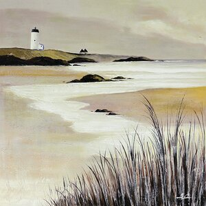 'Tan Lighthouse Scene' Painting on Wrapped Canvas by Beachcrest Home