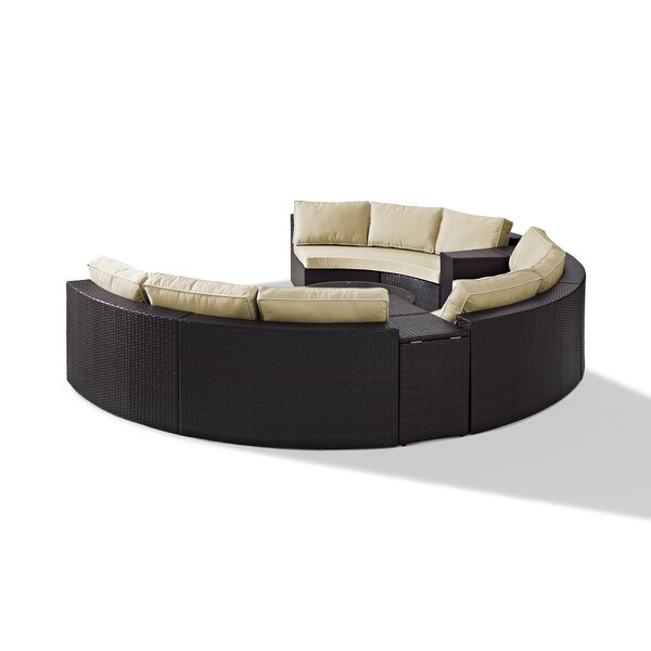 Michal 6 Piece Rattan Sectional Seating Group with Cushions by Highland Dunes