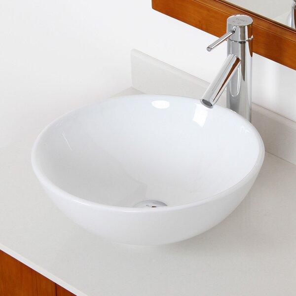 Ceramic Circular Vessel Bathroom Sink by Elite