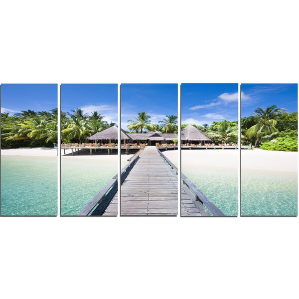 Beach with Coconut Palm Trees 5 Piece Wall Art on Wrapped Canvas Set by Design Art