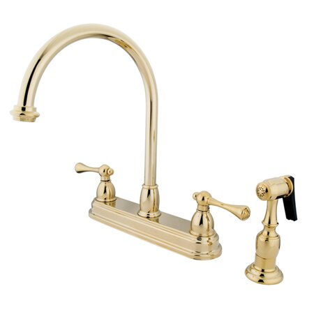 Vintage Double Handle Kitchen Faucet with Side Spray by Kingston Brass