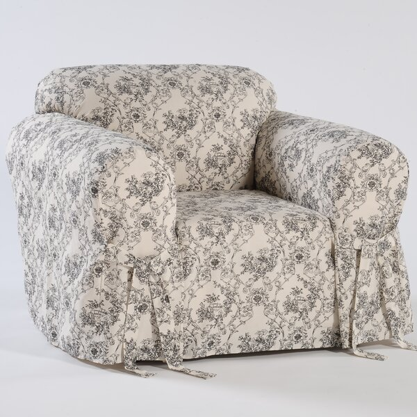 Toile Print Box Cushion Armchair Slipcover by Classic Slipcovers