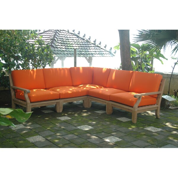 Gatsby Luxe Modular 5 Piece Teak Sectional Seating Group by Rosecliff Heights