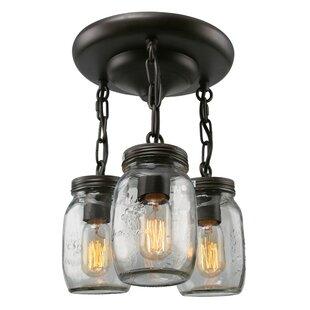 mason jar lighting fixture. Mason Jar 3-Light Semi Flush Mount Mason Jar Lighting Fixture S