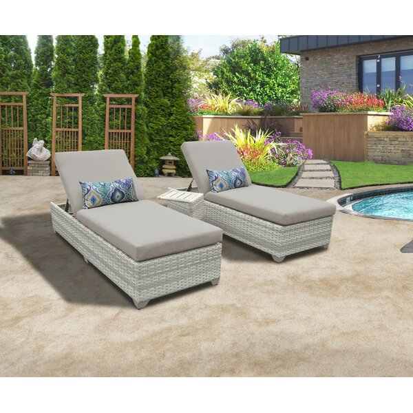 Genevieve Reclining Sun Lounger Set with Table (Set of 2) by Rosecliff Heights