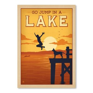 Jump in a Lake Vintage Advertisement by East Urban Home