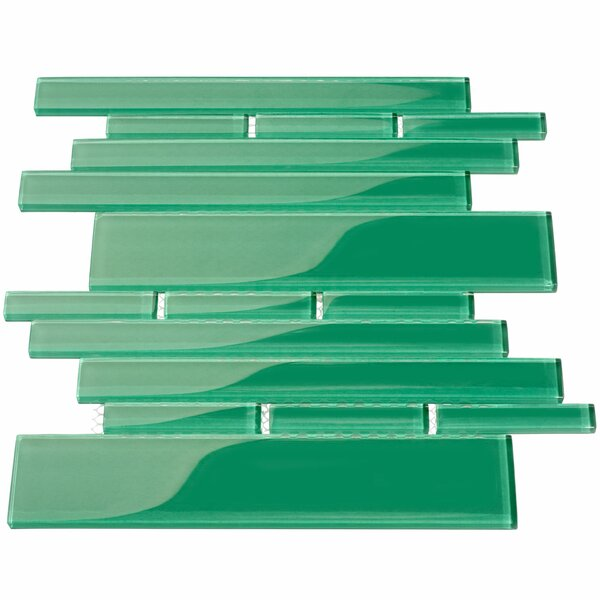 Club Random Sized Glass Mosaic Tile in Emerald Green by Giorbello