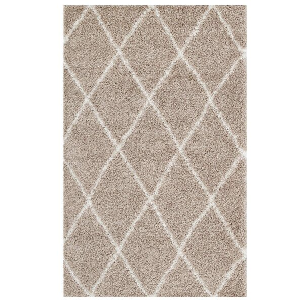 Naveen Diamond Lattice Beige/Ivory Area Rug by The Twillery Co.
