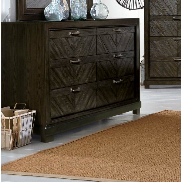 Vachel 6 Drawer Double Dresser with Mirror by Gracie Oaks