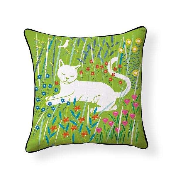Flora and Feline Outdoor Throw Pillow