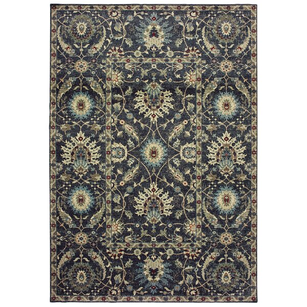 Salgado Traditional Floral Navy Area Rug by Charlton Home