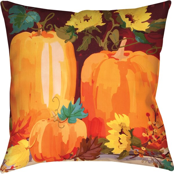 Pumpkins & Sunflowers Knife Edge Throw Pillow by Manual Woodworkers & Weavers