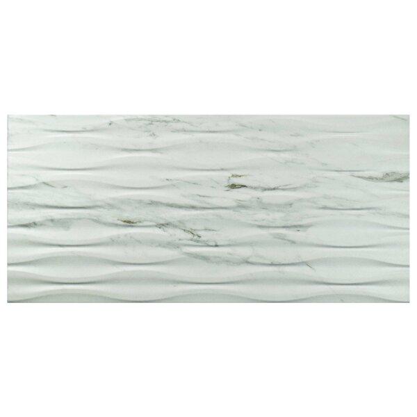 Marbre Carrara 12.88 x 25.63 Porcelain Field Tile in White by EliteTile