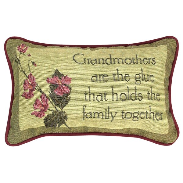 Grandmothers are the Glue Word Lumbar Pillow by Manual Woodworkers & Weavers