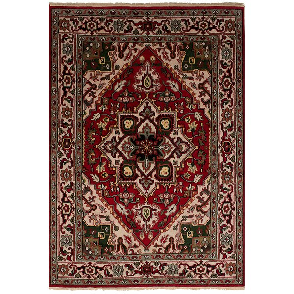 One-of-a-Kind Larsen Hand-Knotted Wool Red Area Rug by Bloomsbury Market