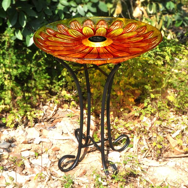 Floral Glass Solar Birdbath with Stand by Hi-Line Gift Ltd.