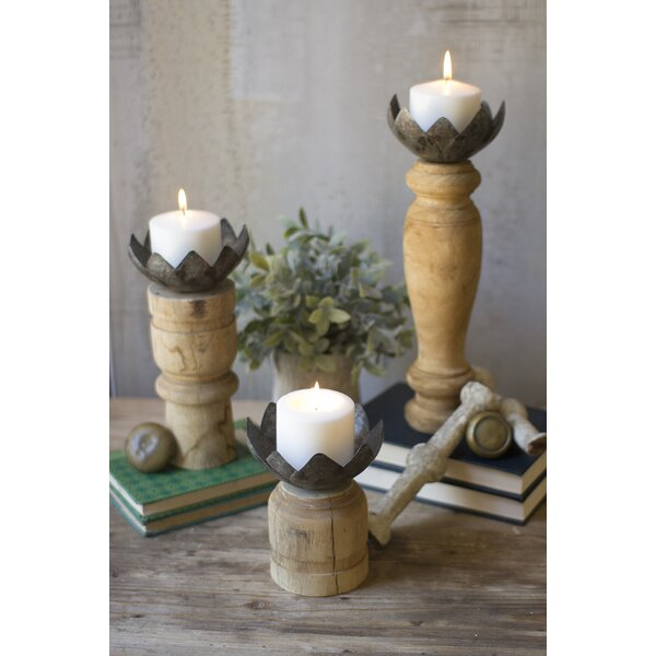 Magnolia Cup 3 Piece Wood Candlestick Set by August Grove
