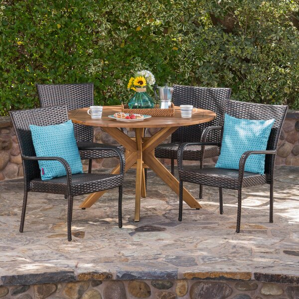 Townes Outdoor 5 Piece Wicker Dining Set by Ebern Designs
