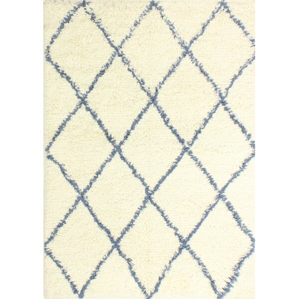 Lavedan Wool Hand-Knotted Ivory/Blue Area Rug by Laurel Foundry Modern Farmhouse