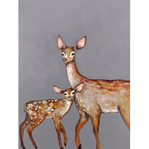 'Deer with Fawn' by Eli Halpin Print of Painting on Canvas in Gray by GreenBox Art