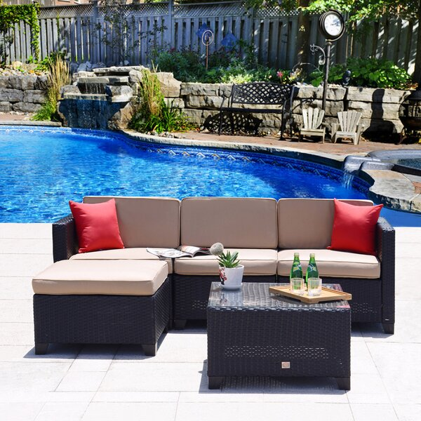 Rita Outdoor 5 Piece Rattan Sofa Set with Cushions by Ebern Designs