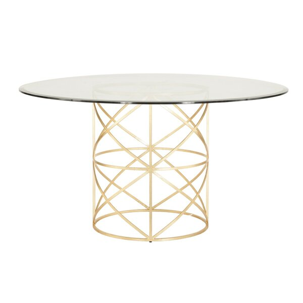 X Motif Dining Table with Glass Top by Worlds Away Worlds Away