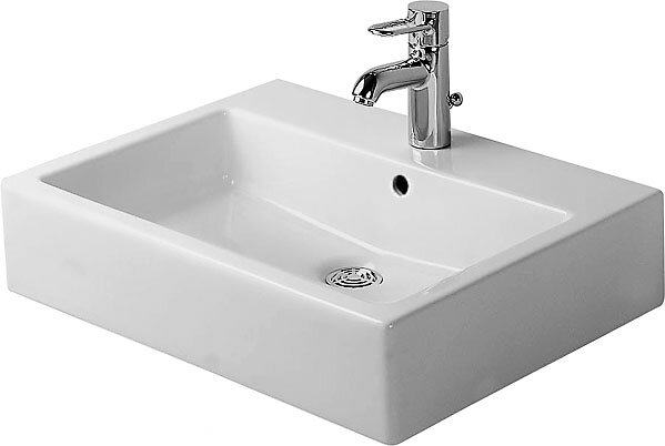Vero Ceramic Rectangular Vessel Bathroom Sink with Overflow by Duravit