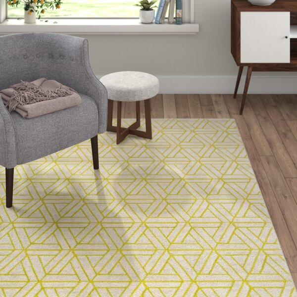 Nuri Light Gray/Lime Area Rug by Langley Street